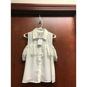 Love, Fire White Top Large Sleeveless Lace New